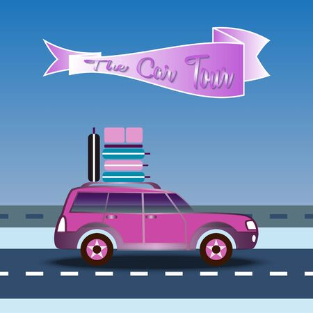 Car rides on highway. Luggage on the roof. Banner with text - The Car Tour. Travelling by car on blue sky background. Trip around the world. Vacation planning. Tourism, holiday theme. Vector EPS10 Ilustracja