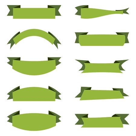 Vector flat design collection. Green classic ribbons banners group with place for your text. Design elements isolated on white background. Ribbons for design, business, logo, cards.