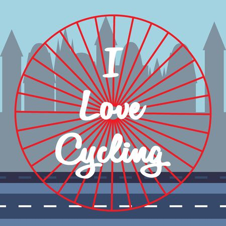 White lettering - I love cycling in the center. Bicycle wheel rolls along highway on buildings silhouettes background. Symbol of travel, tourism, adventure. Design for amateur or professional cycling. Ilustracja