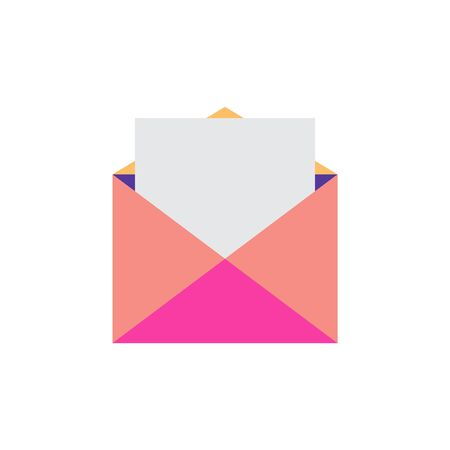 White paper document. Open envelope. Envelope with a document isolated on white background. Concept of mailing, notifications, communication, incoming letters, confirmation of receipt of letters.
