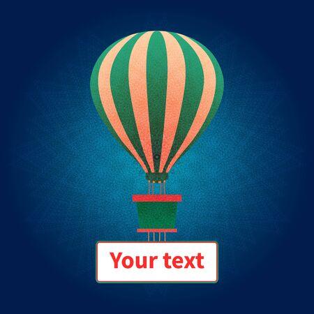 Colorful vector illustration. Hot air balloon flies on blue creative sky background. Banner for text is under balloon basket. Symbol of celebration, joy, fun, lightness, adventure, risk, travel. Ilustracja