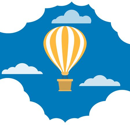 Hot air balloon with basket is flying. Balloon dome with white and yellow stripes. Blue sky with clouds. Symbol of peace, fate, good luck, joyful future. Flat cartoon design. Vector illustration.