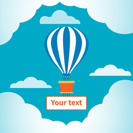 Hot air balloon in the sky. Blue-white balloon dome. Basket and banner for text. Clouds and blue sky. Symbol of a bright, light and joyful future, romantic and dreamy natures, love of travel. Ilustracja