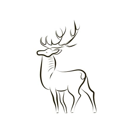 Black and white deer. Side view. Minimalistic hand drawing. A deer with large horns stands proudly. Design graphics for emblems, logos, websites, banners, covers. Vector illustration. EPS 10. Ilustracja
