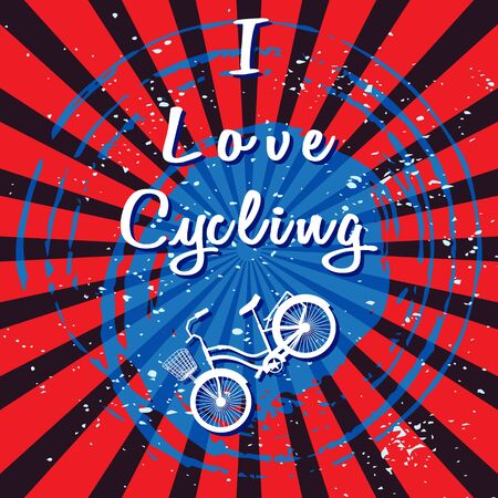 White silhouette of the bike and white lettering - I Love Cycling. Blue spot like a spiral. Red and black rays background. White scattering particles. Design for advertising bikes. Sports theme.