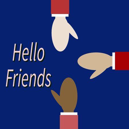 Des amis de différentes races se saluent. Les hommes tendent les bras vers. Texte - Bonjour ami. Concept d'approbation, d'accord, de réconciliation, de travail d'équipe. Plate illustration vectorielle sur fond bleu.