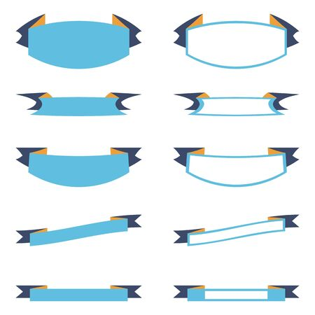 Banners set with place for text. Five blue ribbons banners. Five white ribbons banners with blue rim. Decorative ribbons banners for gift decoration. Creative modern vector illustration for business.