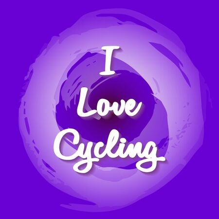 White lettering - I Love Cycling. Fantasy background in fashionable and stylish lilac palette. Creative design for a gift, decor, sports design. Vector illustration. Theme of sport, active lifestyle.  イラスト・ベクター素材