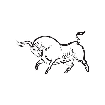 Young strong bull in proud pose. Hand drawing. Black and white vector bull silhouette isolated. Idea for tattoo, coloring, zenart, stickers, logo, icons. Symbol of male integrity, strength, fertility.