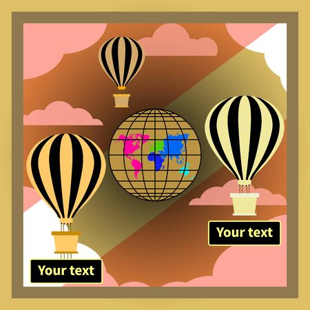 Hot air balloons isolated. Striped golden black hot air balloons. Banners for text under baskets. Pink and white clouds. Globe with continents in focus. Symbol of lightness, freedom, optimism, romance