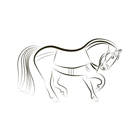 Horse silhouette isolated on white. Black and white vector stallion contour. Vector horse graphic. Minimalistic design. Horse and equipment outline. Hand drawing for design stables, farms, races. Stock fotó - 136379687
