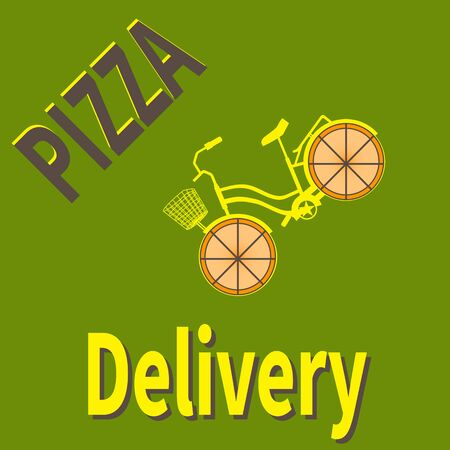 Pizza delivery bicycle. Text - Pizza Delivery. Ecological pizza delivery vehicle. Concept for Internet delivery service and online orders. Green eco background. Fast food business. Vector illustration Ilustracja