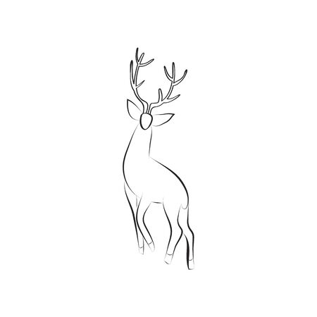 Black and white deer stands. Side view. Stag with large antlers isolated. Design animal for emblem, logo, invitation. Minimalism graphics style. Vector illustration with space for text. EPS 10. 免版税图像 - 138108780