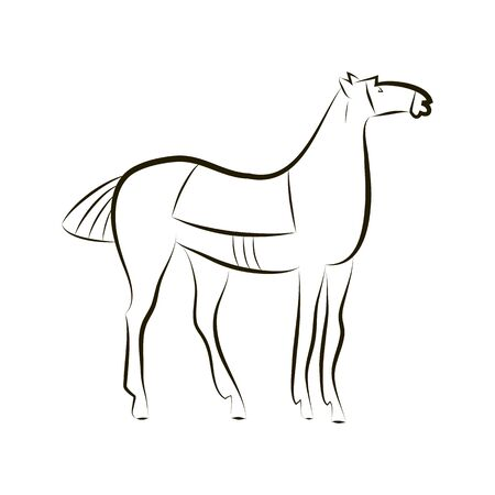 Standing horse with saddle. Black and white stallion contour. Minimalistic style. Horse logo. Vector illustration on white background. Idea for design of stable, farm, equestrian competition. EPS 10