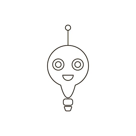 Chatbot flat icon on white background. Virtual online support. Bot support service design. Artificial intelligence symbol. Chat bot or chatterbot. Vector illustration. Can be used in web and mobile. Çizim