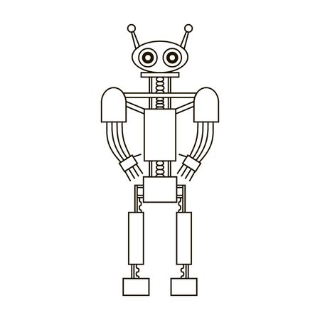 Robot black outline isolated on white background. Symbol of artificial intelligence and robotics. Robot and automation concept. Vector line illustration. Flat style design for web, mobile, coloring.