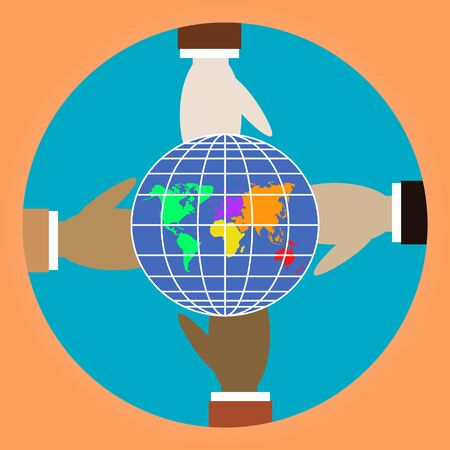 Hands and Earth planet. Four hands of different colors. People of different races are holding globe. Metaphor of peace, friendship, love, spring. Earth Day. Modern flat vector illustration. EPS 10