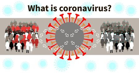 COVID-19 outbreak. Crowd in protective masks. Infection spread from one people group to another people group. Coronavirus epidemic and pandemic concept. Medical health risk. Vector illustration EPS 10