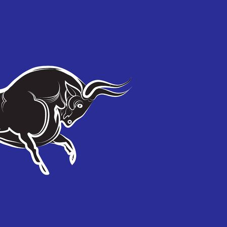 Angry stylized bull on blue background. Black and white strong bull silhouette. Bull head isolated. Bullfighting, farm trademark, tattoo. Trending flat design. Hand-drawn vector illustration. 向量圖像