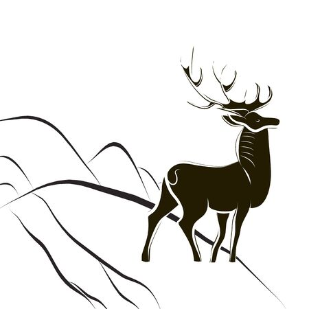 Graceful proud deer with big horns. Black and white silhouette. Male deer stands on edge of mountain slope. Side view. Victory symbol of good over evil. Scandinavian style. Vector flat illustration