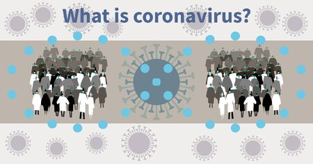 Coronavirus in world. COVID-19 circulation among people. Viral strains circulate. Infection spreads in people groups in medical masks. Virus infects society. Pandemic COVID-19 on viral cells backdrop Imagens - 144718971