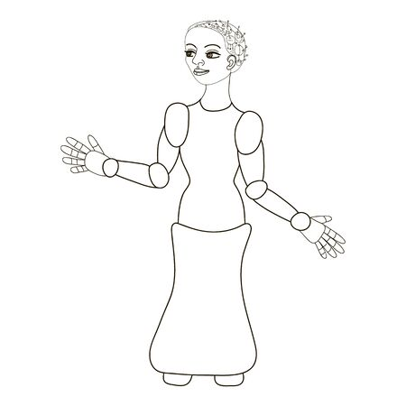 Woman robot. Intelligent computer machine. Hand drawing. Black outline of female robot on white background. Robot assistant in store, hospital, bank. Artificial intelligence and automation concept.