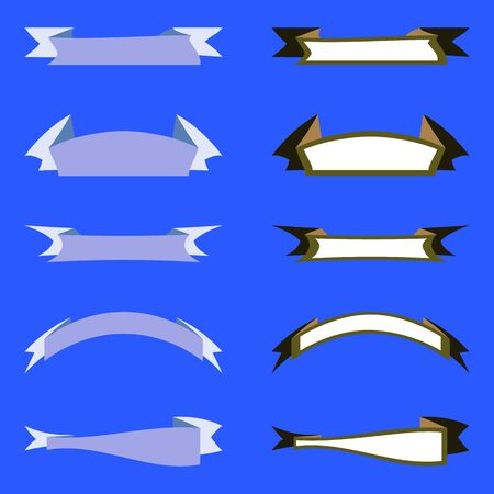 Flat vector ribbons banners set. Decorative ribbons banners on blue background. Five light blue ribbons. Five white ribbons with dark khaki rim. Vector collection. Banners isolated for business, logo.
