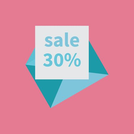 Light blue open envelope. White sheet with percent sale discount. Email notification on pink background. Concept of notifications, email delivery, email marketing, incoming messages. Mail isolated. Imagens - 144991730