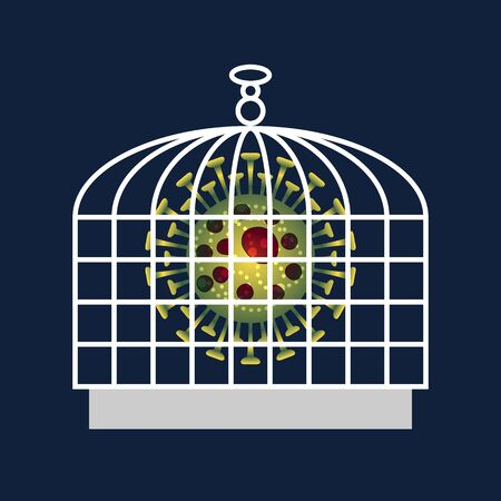 Coronavirus protection. Viral cell locked in bird cage. Virus protection metaphor. Dangerous coronavirus isolated. Health Preservation. Protection against infection and disease. Vector illustration Ilustração