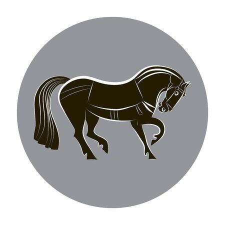 Black and white horse. Racing horse silhouette isolated. Stylish outline horse on gray circle background. For stables design, farms, races. Equestrian symbol. Vector flat illustration. Imagens - 145163323
