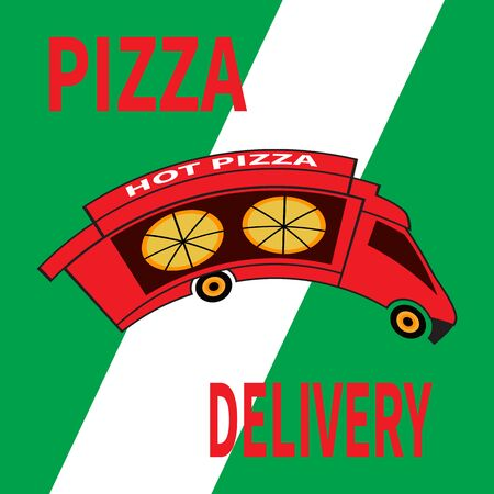 Red pizza truck on white-green background. Food delivery service. Delivery pizza rides at high speed. Art design for web, site, advertising, banner, ordering online, express delivery, Internet service Imagens - 144726705