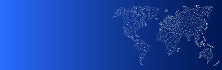 Blue banner. Polygonal world map. White contour continents. Trendy white triangles. Geometric polygonal style. World map with nodes connected by lines. International logistics or business concept.