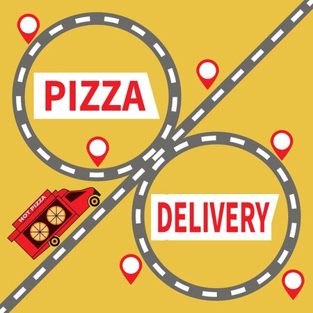 Food and pizza delivery truck rides on highway. Pizza Delivery. Road junction and red marks on yellow backdrop. Text on truck - Hot Pizza. For delivery service, web, site, advertising, banner, poster.