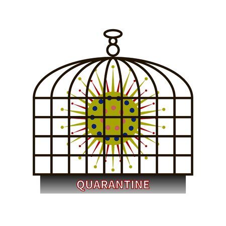 Coronavirus cell COVID-19. Virus strain locked in stylized birdcage. Prevention from virus. Coronavirus pandemic protection concept. QUARANTINE written on cage. Coronavirus COVID19 protection logo. Imagens - 146118642