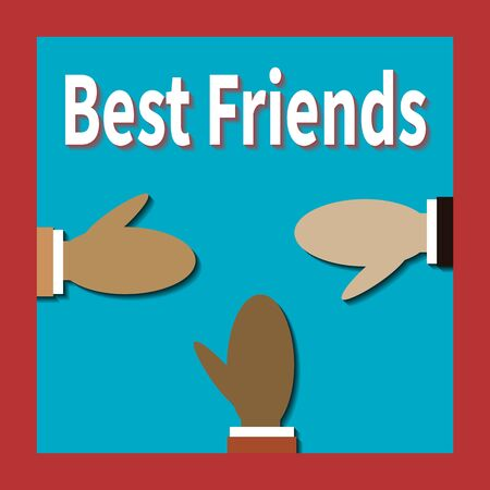 Three friends of different races greet each other. Best friends. Different colors people hold out hands to each other. Symbol of friendship, good intentions and partnership. Vector flat illustration. Imagens - 145720983