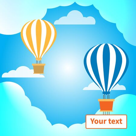 Two hot air balloons with baskets. Banner for text. Great design for any purposes. Clouds and blue sky. Natural background. Vector holiday style. Business or travel concept. Holiday decoration. EPS10 Imagens - 145810328