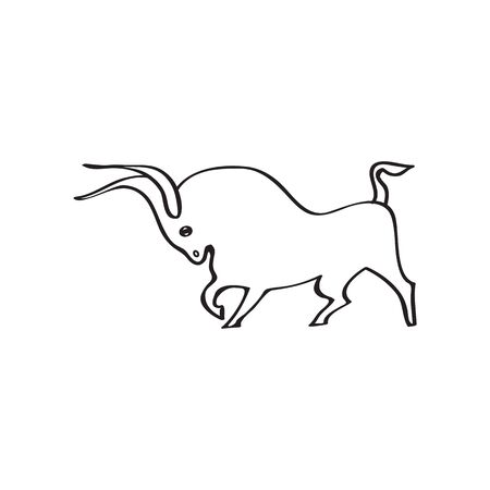 Young strong bull silhouette . Black outline  bull on white background. Hand drawing. Side view. Idea for tattoo, sticker, logo, icon, cow meat, beef label. Vector illustration  .