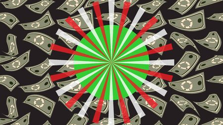 Luck wheel on money background. Big Win. Gambling business concept. Casino and gambling. Spinning roulette and game of luck. For online casino, poker, roulette, lottery, slot machines, card games.