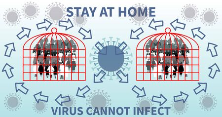 Stay at home. Coronavirus cannot infect. Virus protection design. Reduce infection risk and virus spread. Virus outbreak, flue risk seasonal period, precaution or prevention. Virus molecules in air. Ilustração