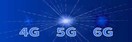 Futuristic abstract background. Banner  Internet development speed  4G 5G 6G. Wireless Internet  connection. Global network. High speed data transfer technologies. Innovative blue backdrop. Ilustração