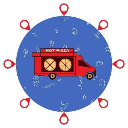 Red pizza truck. Pizza delivery around globe. Map tag icons around blue ball. Doodle on stylized globe. Food, pizzeria, online ordering, express delivery, internet services theme. Flat style EPS10.