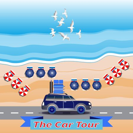 Blue car drives by coastal road. Luggage on car roof. Seascape background. Flying seagulls. Sea waves. Sand beach. Beach umbrellas. Banner with text - The Car Tour. Summer vacation, touring by car.