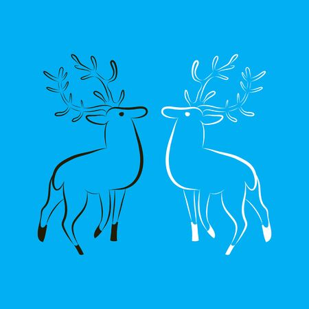 Two deer silhouettes. Black deer opposite white deer. Hand contour drawing. Side view. Minimalistic style. Vector illustration EPS 10 on blue background. For logo, label, badge, t-shirt, hunting club.