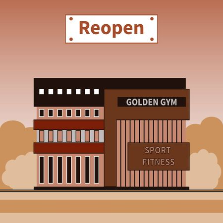 Gym reopened after coronavirus COVID-19 lockdown. Nameplate - Reopen. Global viral outbreak over. Gym working again. Modern building facade. Sports theme after Corona Break. Vector illustration EPS10. Ilustração