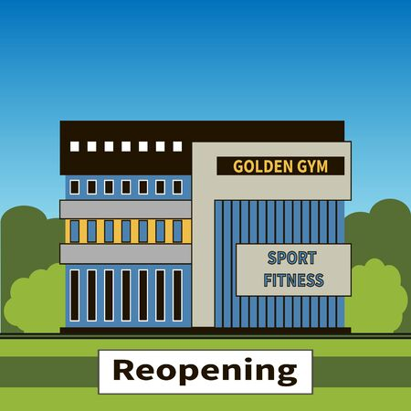 Gym reopening after lockdown to prevent Covid19 coronavirus pandemic. Sports complex building on blue sky and green trees background. Stylish facade building. Nameplate - Reopening. Vector flat style.
