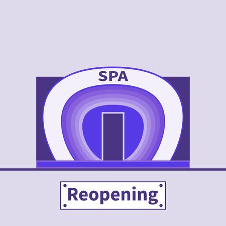 SPA salon reopening. SPA building facade. Futuristic fashionable architecture. COVID-19 coronavirus pandemic over. Nameplate - Reopening. Beauty theme after Corona Break. Violet vector illustration.