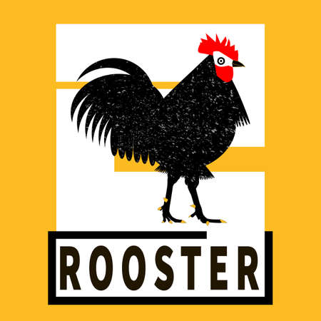 Rooster black silhouette. Black, yellow, white. Grunge Cock label, sticker for rooster manufacturing, chicken product, chicken farm painting. Cockerel in graphic, vintage style for banner, restaurant.