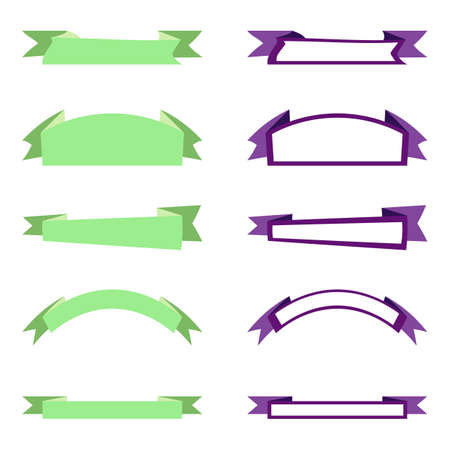 Set of business and design ribbon banners. Label collection templates. Flat ribbon banners isolated on white background. Place for your text. Light green and purple elements. Vector illustration EPS10