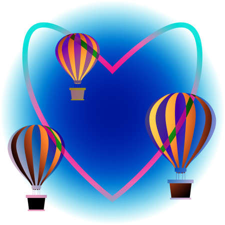 Colorful hot air balloons floating in sky. Bright sky background. Heart contour connects balloons. Freedom, travel, mobility symbol. Print for design and printing on clothing, romantic cards, gift. Ilustração