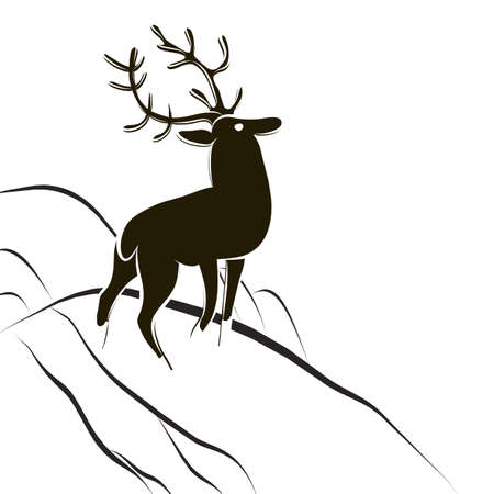Hand drawn graphic deer with large antlers. Side view. Red deer buck. Wildlife black-white poster. Design for logo, label, badge, t-shirt, hunting club or tourist camp. Scandinavian minimalistic style